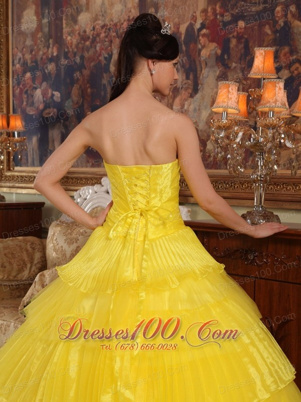 Yellow Layered Dresses for a Quince Appliques