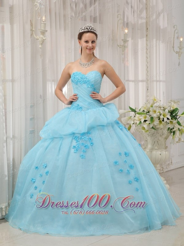 Sweetheart Light Blue Ball Gown Dresses for a Quince