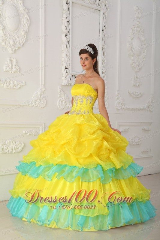 Yellow and Green Quinceaneras Dress Beading Decorate