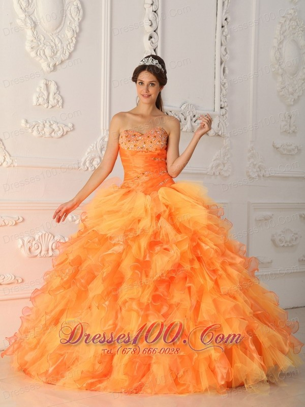 Lovely Light Orange Ruffles Sweet 15 Dresses Beading