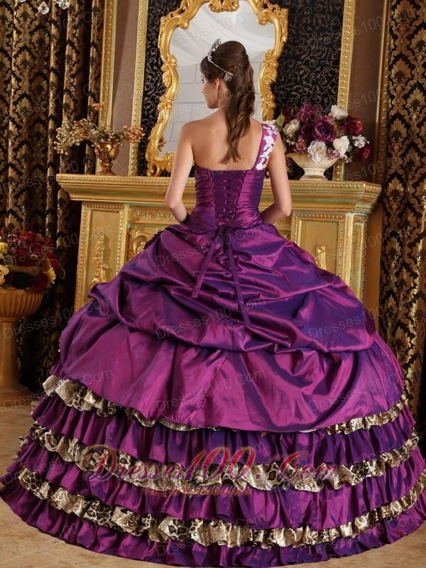 Zebra Print Purple One Shoulder Quinces Dresses Floor-length