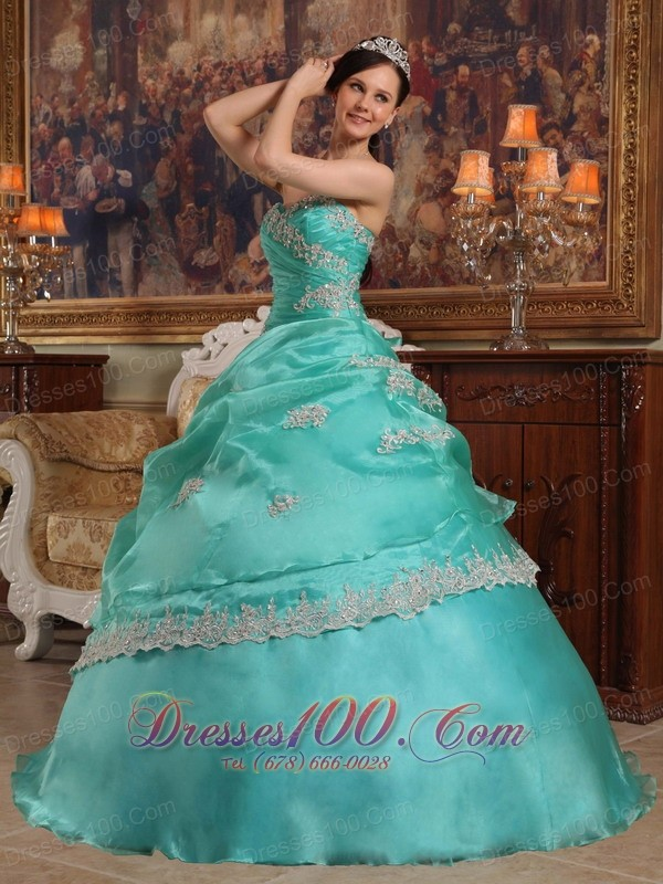 2012 Turquoise Quinceanera Dress STrapless Pick-ups