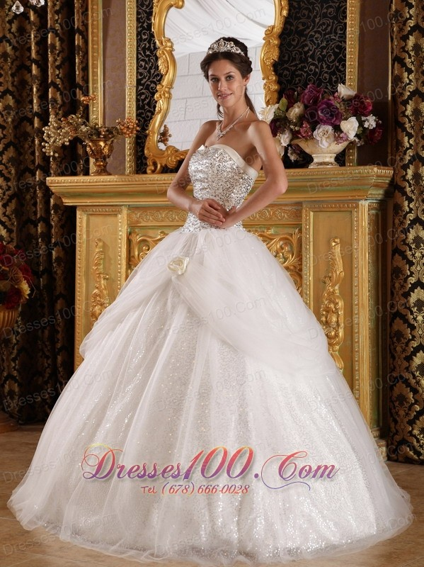 Popular Quinceanera Dress Sweetheart Organza Sequined