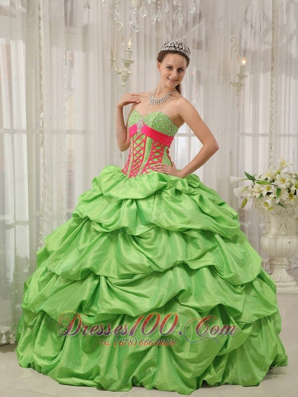 Green Sweetheart Beading Pick-ups Quinceanera Dress