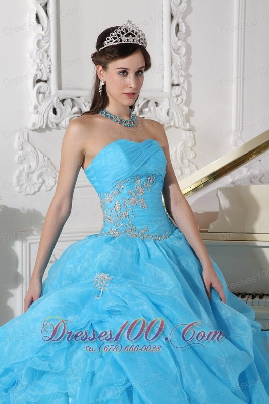 Blue Strapless Organza Beading Quinceanera Dress