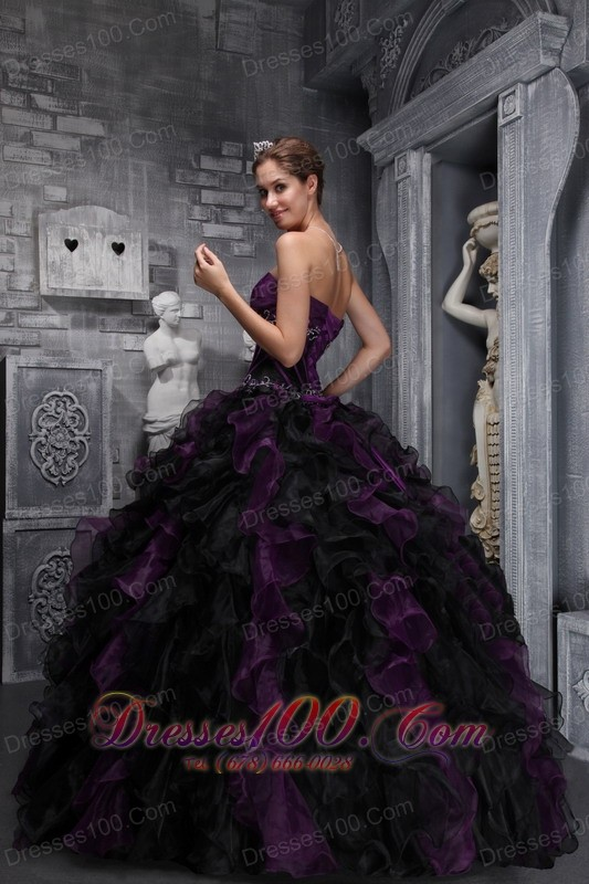 Trendy Purple Black Quinceanera Dress Strapless Taffeta Organza