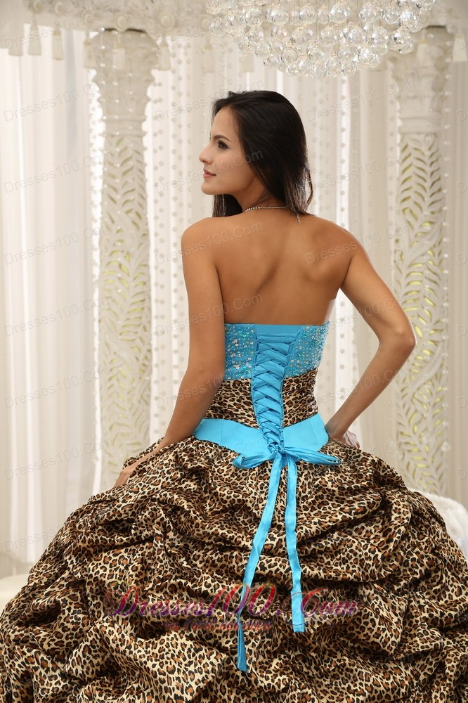 Unique Zebra Print Beading Blue Quinceanera Gowns Dresses