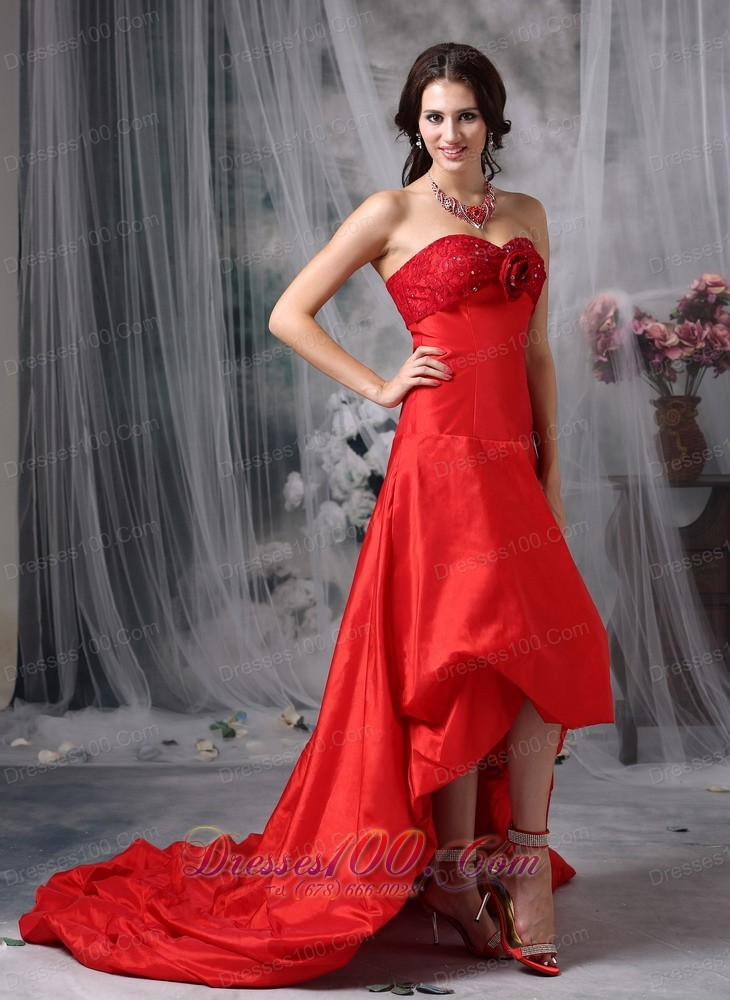 High-low Blood Red A-line Cocktail Dress Taffeta |Discount Prom ...