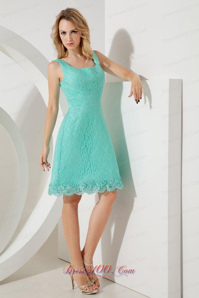 Turquoise Lace Princess Square Straps Bridesmaid Dress  Perfect ...