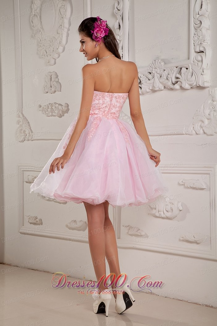 Baby Pink A line Princess Sweetheart Cocktail Dress