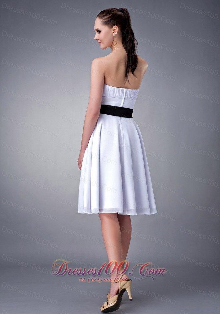 White A-line Black Sash Knee-length Bridesmaid Dress