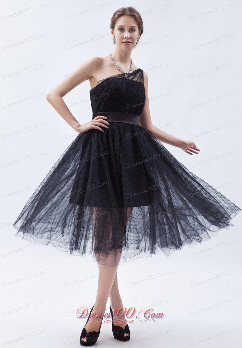 Attractive bridesmaid dress tulle tea length one shoulder for One shoulder tea length wedding dress