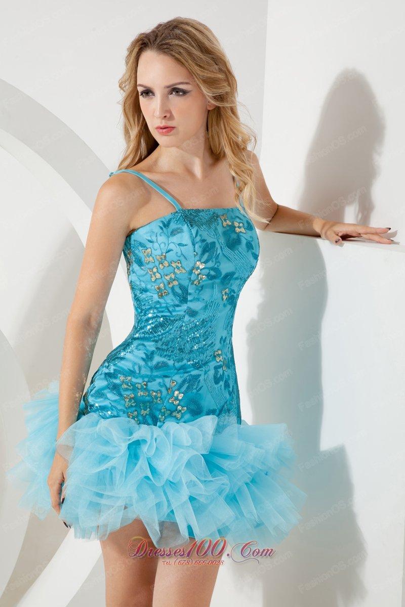 Aqua Blue Straps Short Homecoming Dress Mini-length Sequin |Prom ...