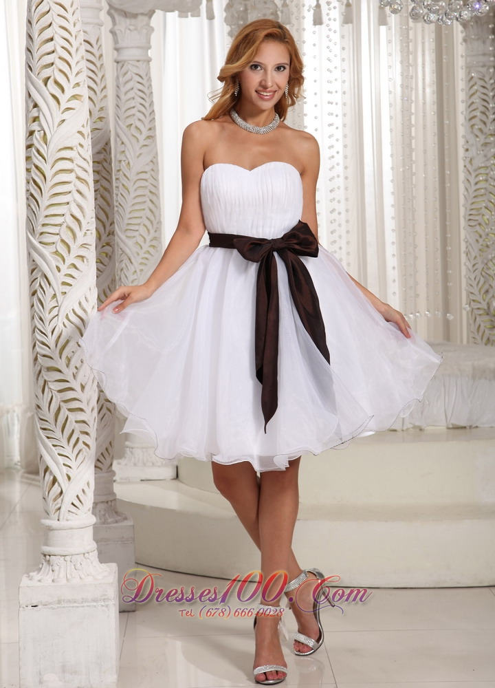 Short White Organza Bow Bridesmaid Dama Dresses |Perfect Prom Dresses