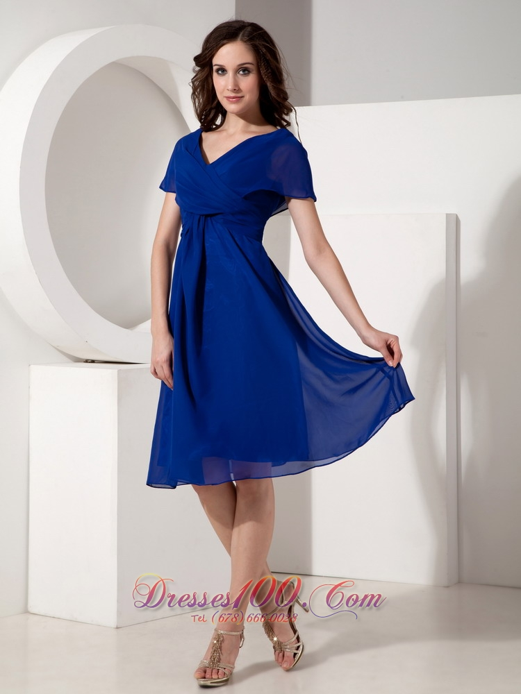Short Sleeves Royal Blue V-neck Mother of the Bride Dress