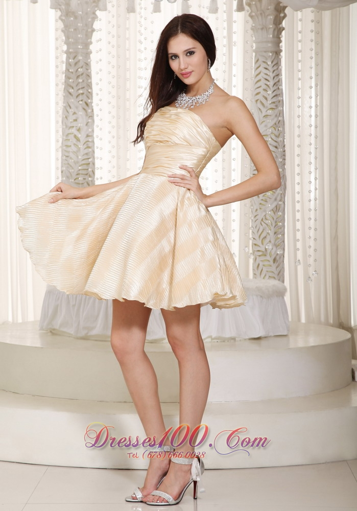 Champagne A-line Strapless Mini-length Prom Dama Dresses |Discount ...