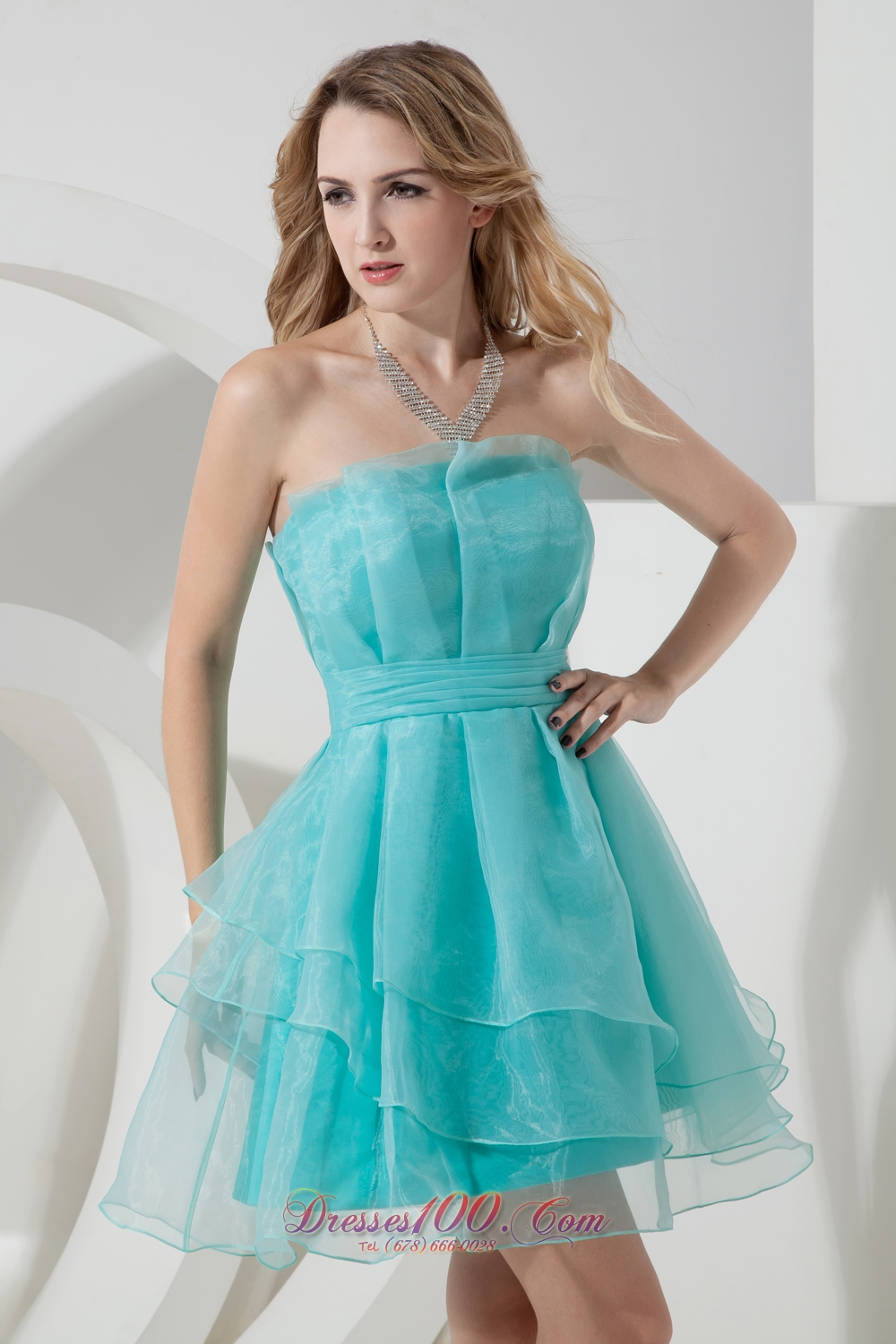 Turquoise Mini-length Organza Ruched Cocktail Dama Dresses ...