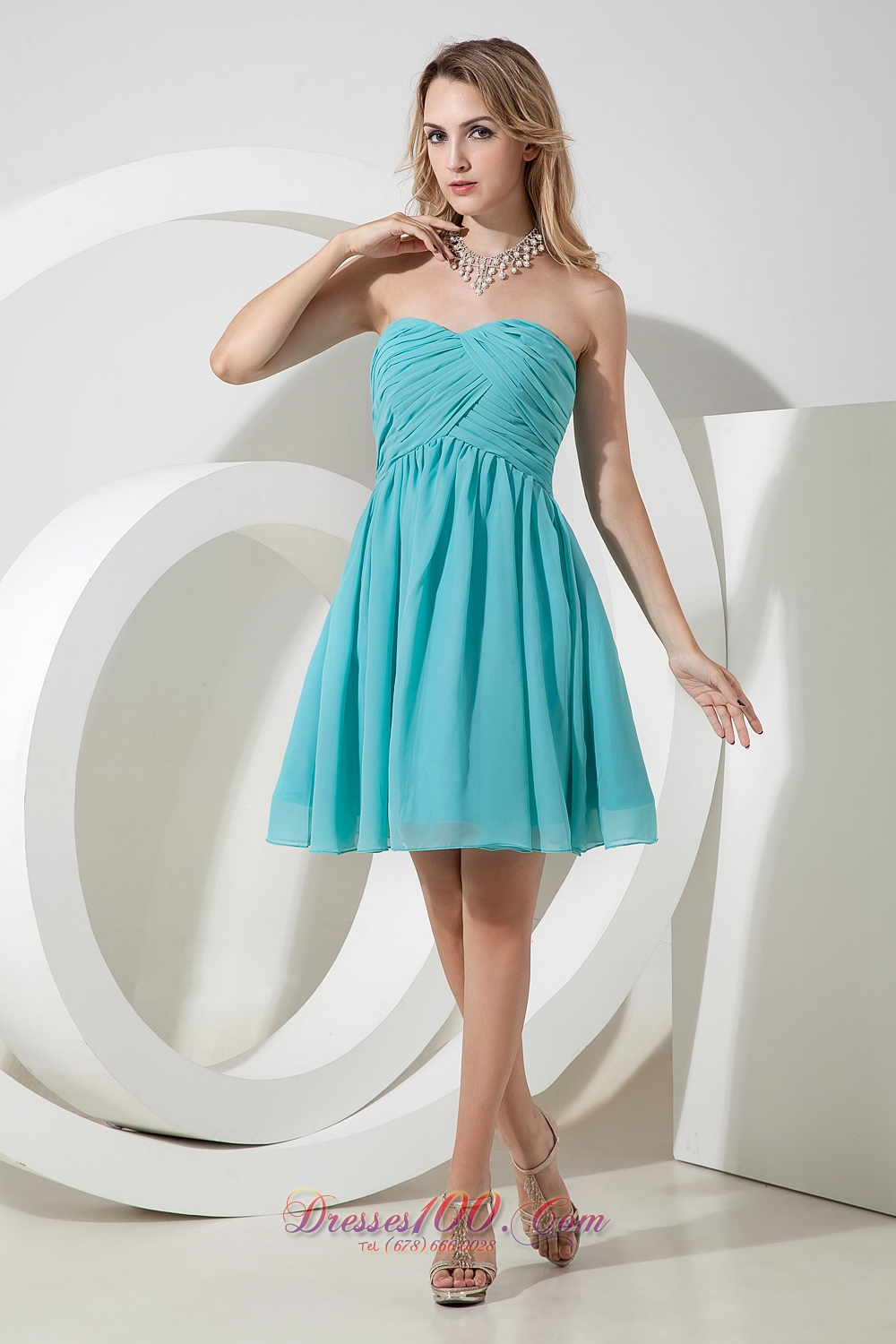 Turquoise A-line Knee-length Chiffon Dama Bridesmaid Dresses ...