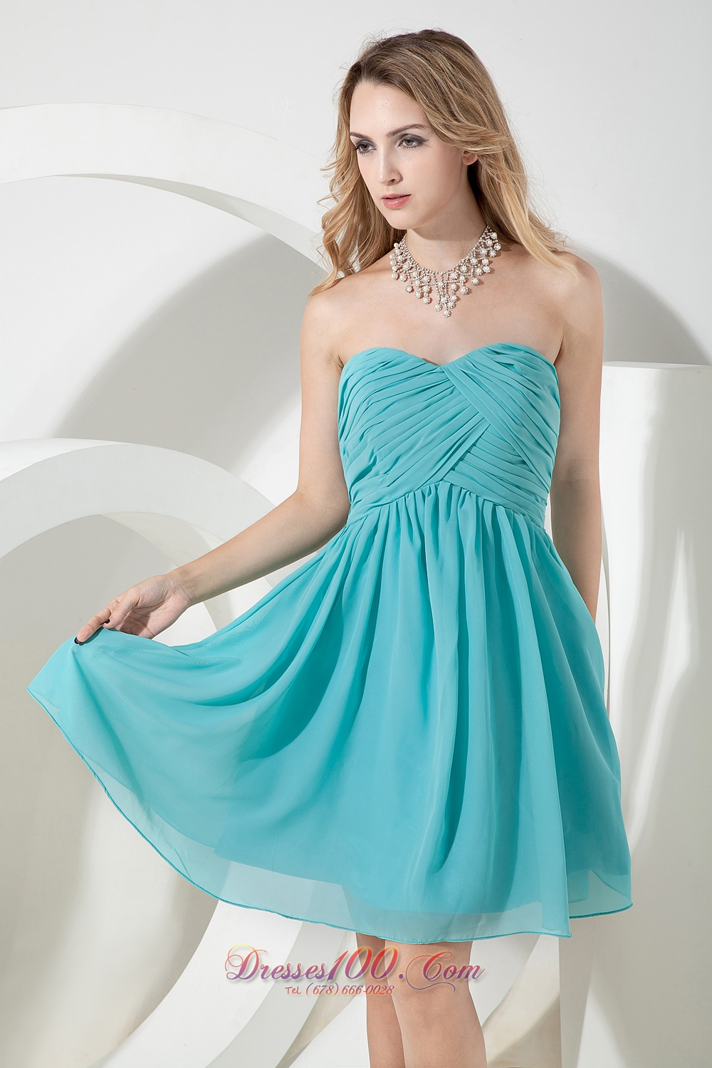 Turquoise A-line Knee-length Chiffon Dama Bridesmaid Dresses