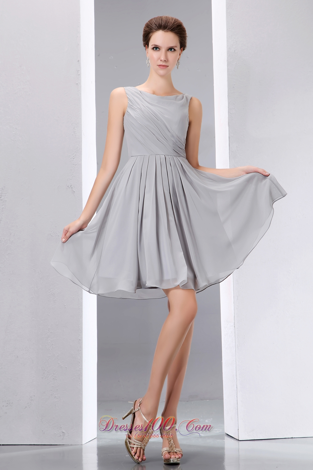 Scoop Grey Chiffon Short Ruched Cocktail Dama Dress |Short Prom Dresses
