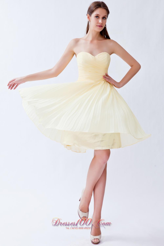 Pleated Light Yellow Empire Bridesmaid Dama Dresses |Cocktail Dresses