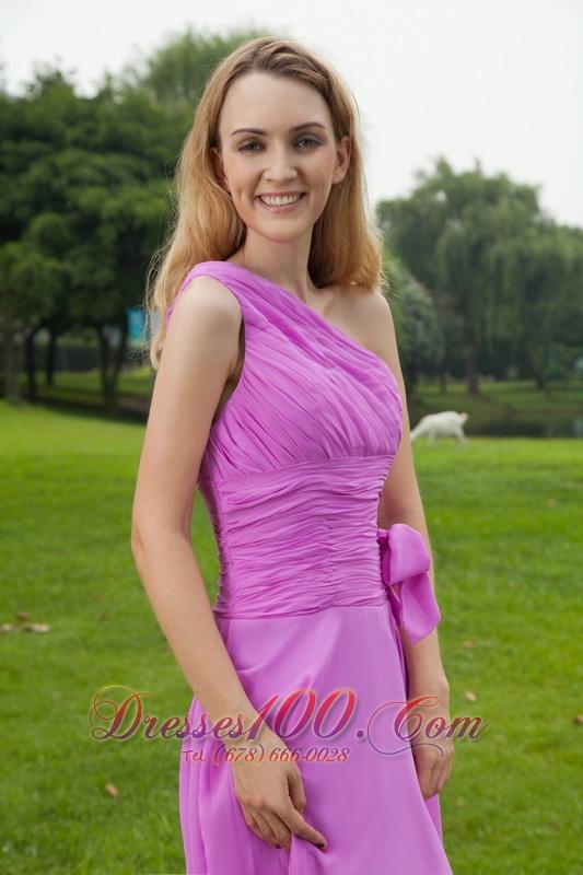One Shoulder Lavender Chiffon Ruched Bridesmaid Dress