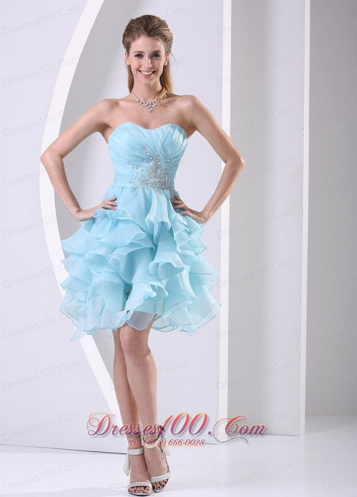 Ruffles Baby Blue Beading Cocktail Prom Dress Discount
