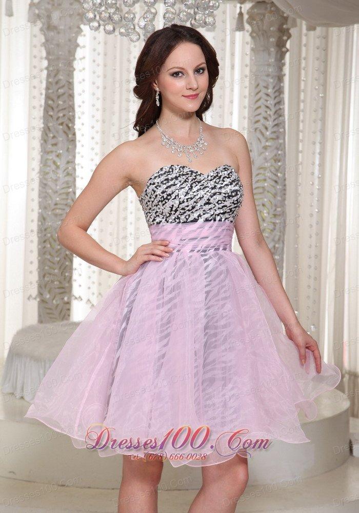Zebra Pattern Prom Homecoming Short Dress Baby Pink Fashionable