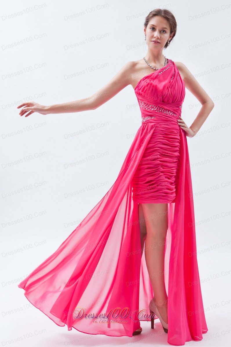 Sequin One Shoulder Hot Pink High-low Prom Dress |Perfect Prom Dresses