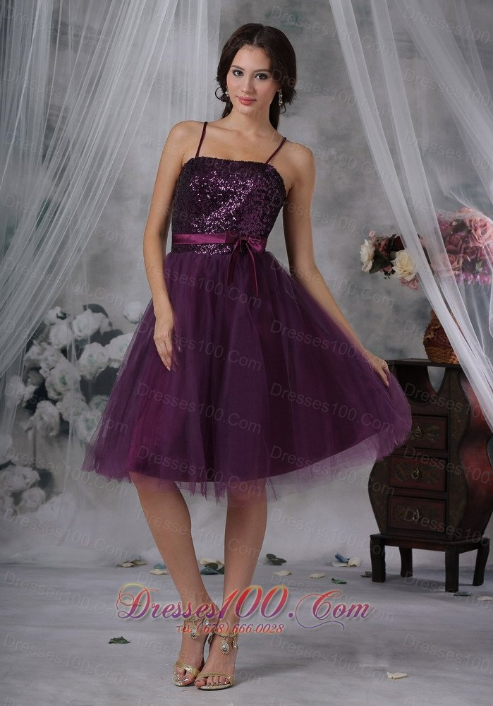 Dark Purple Prom Dress Spaghetti Straps Sequins Tulle |Short Prom ...