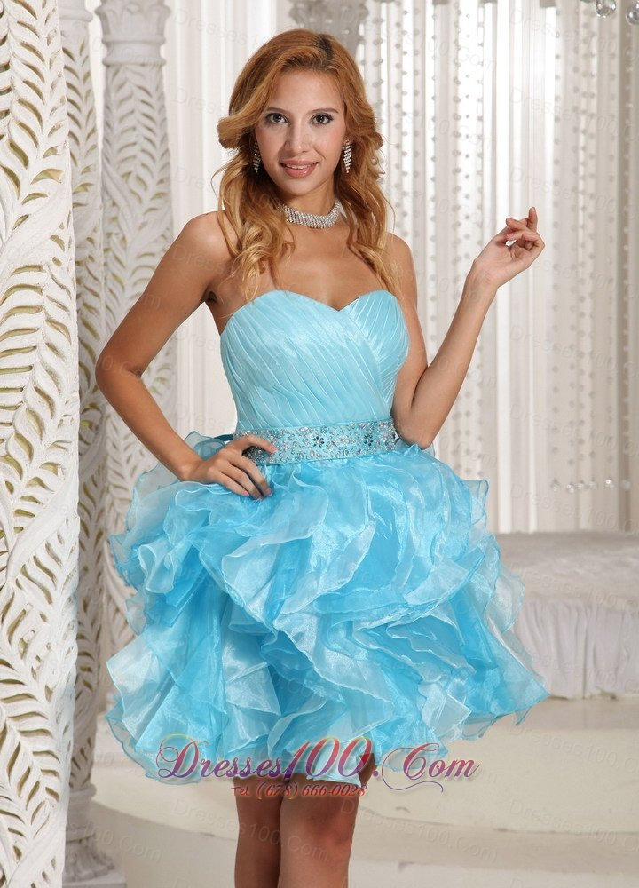Ruffled Pleated Baby Blue Short Party Holiday Prom Dress