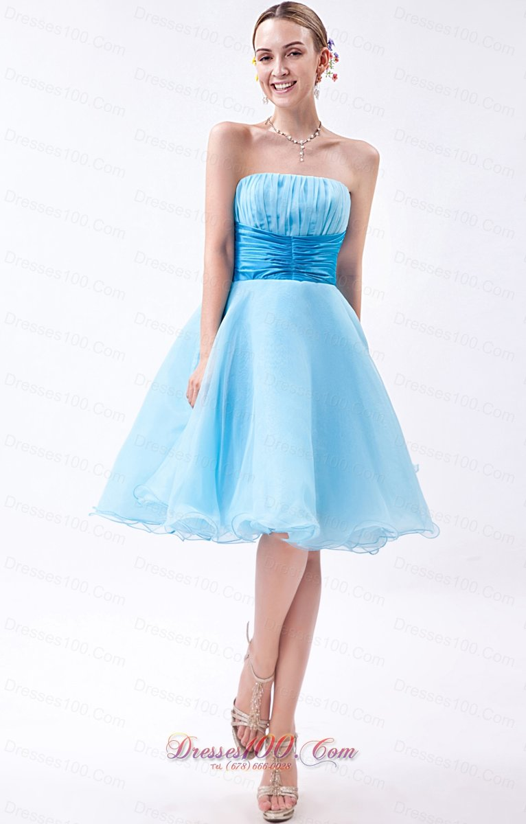 Baby Blue Knee Length Ruch Bridesmaid Dress Short Prom