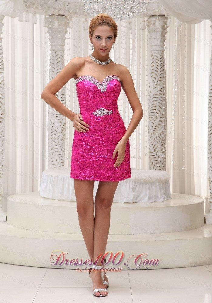Pink Sequin Prom Dresses 2013 Hot Pink Sequin...