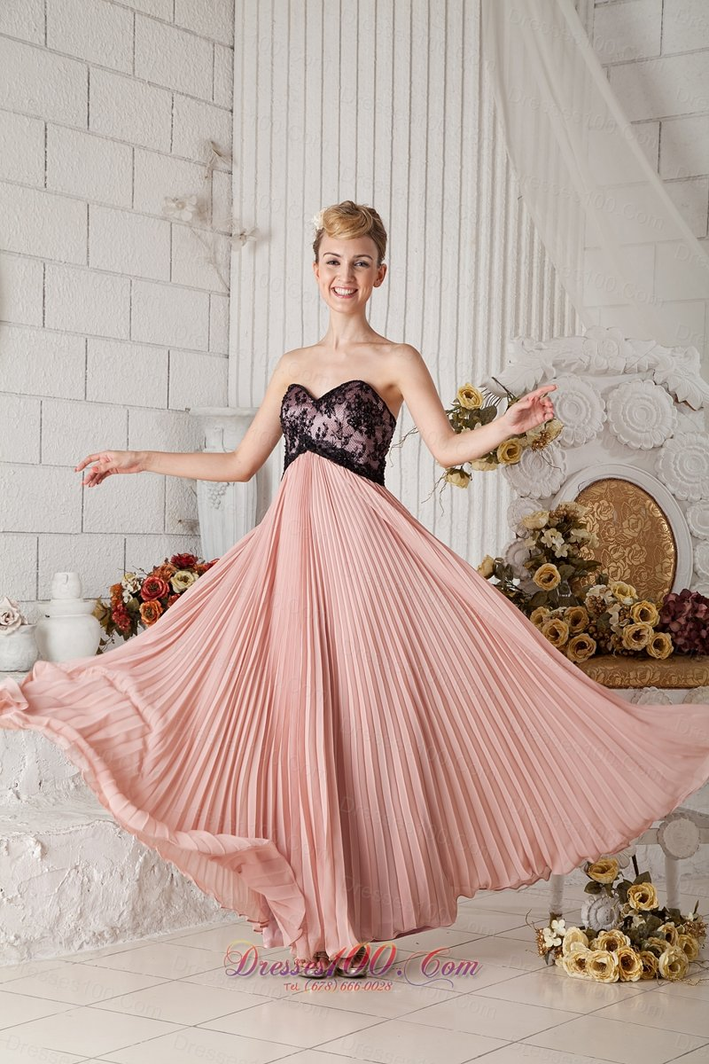 Peach Pleated Black Lace Prom Homecoming Dress Chiffon |Discount ...