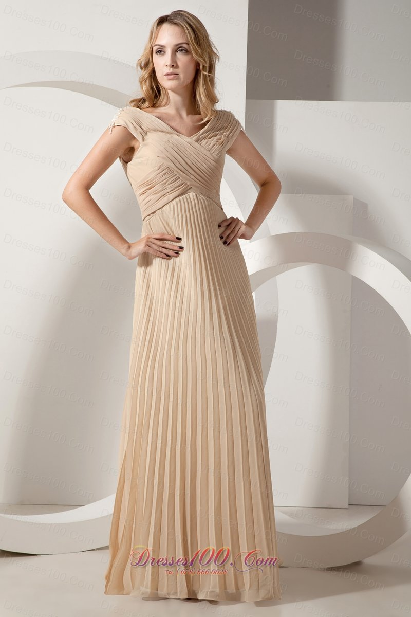 Discount Champagne Column Pleat Chiffon Maxi Dress |Plus ...