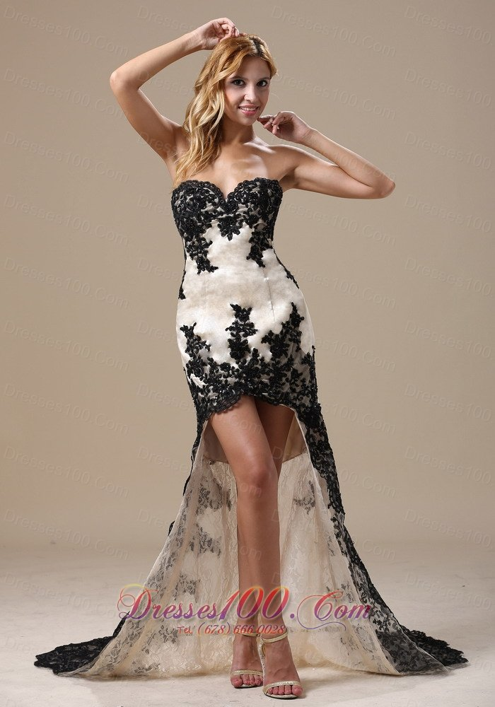 and White Lace Prom Celebrity Dress 2014 in High-low Style