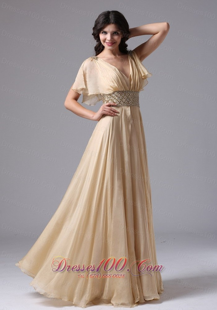 butterfly sleeves beaded v-neck waistband prom gown |plus size