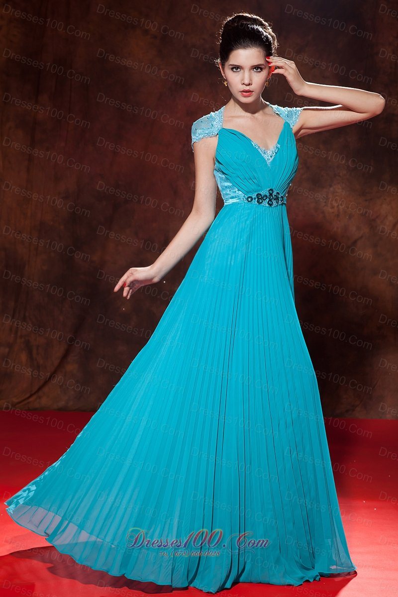 Cap Sleeves V-neck Turquoise Prom Dress Button Back |Discount Prom ...