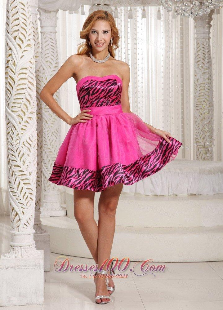 Hot Pink Zebra Mini-length 2013 Prom Graduation Dress Cheap  Short ...