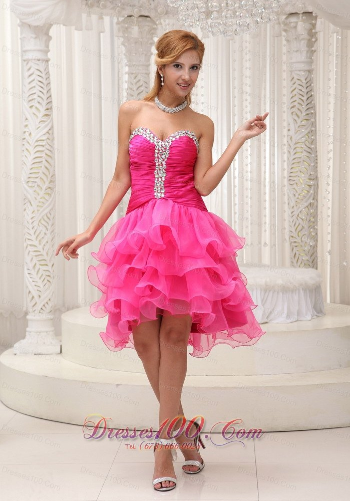 Beaded Hot Pink Mini Length Ruffled Cocktail Dresses |Short Prom Dresses