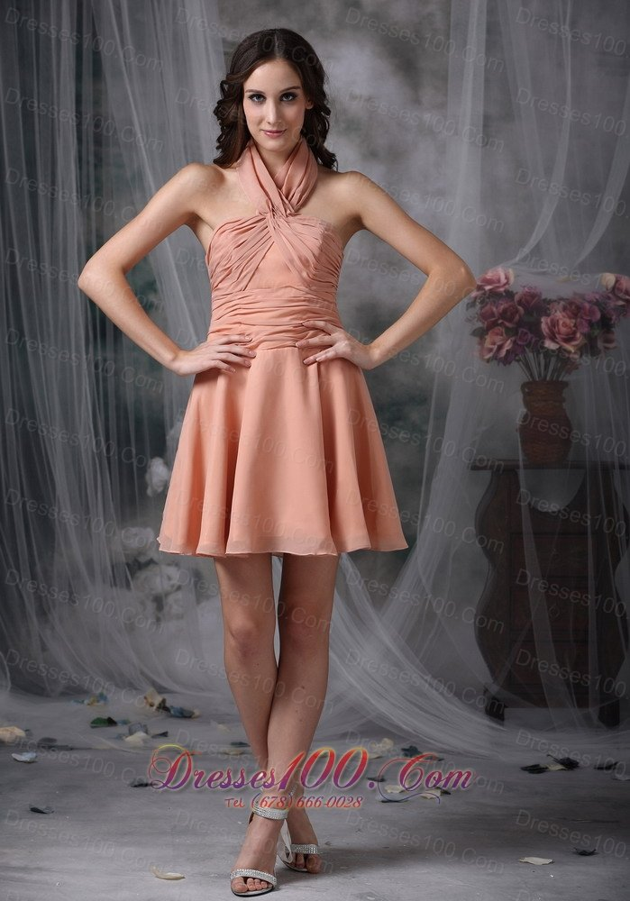 Ruched Chiffon Knee Length Light Pink Cocktail Dresses