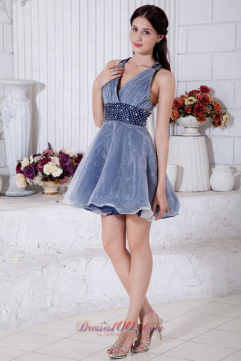 Navy Blue and White V-neck Cocktail Dress Beaded Belt |Perfect Prom ...