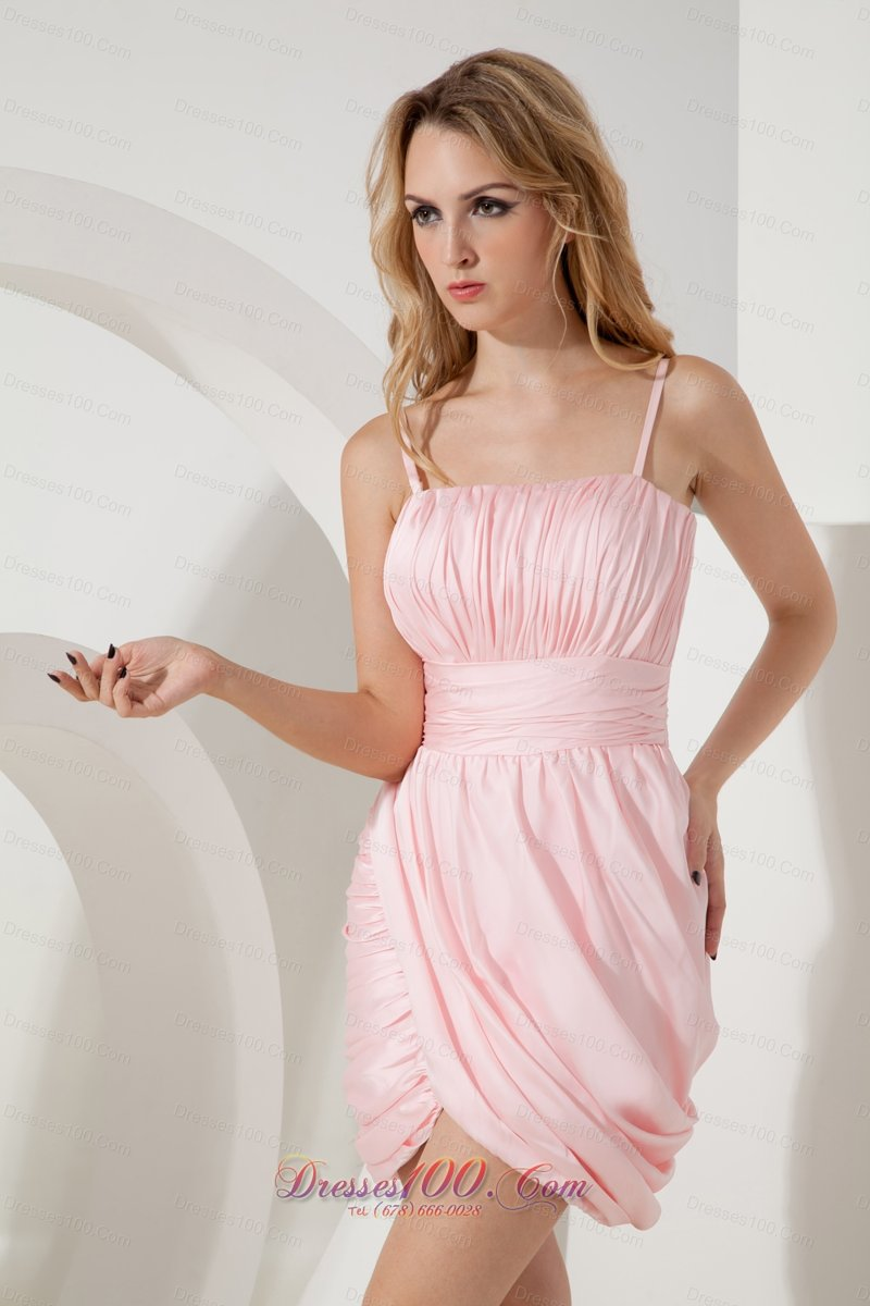 Baby Pink Straps Shell shaped Cocktail Dress Column Empire