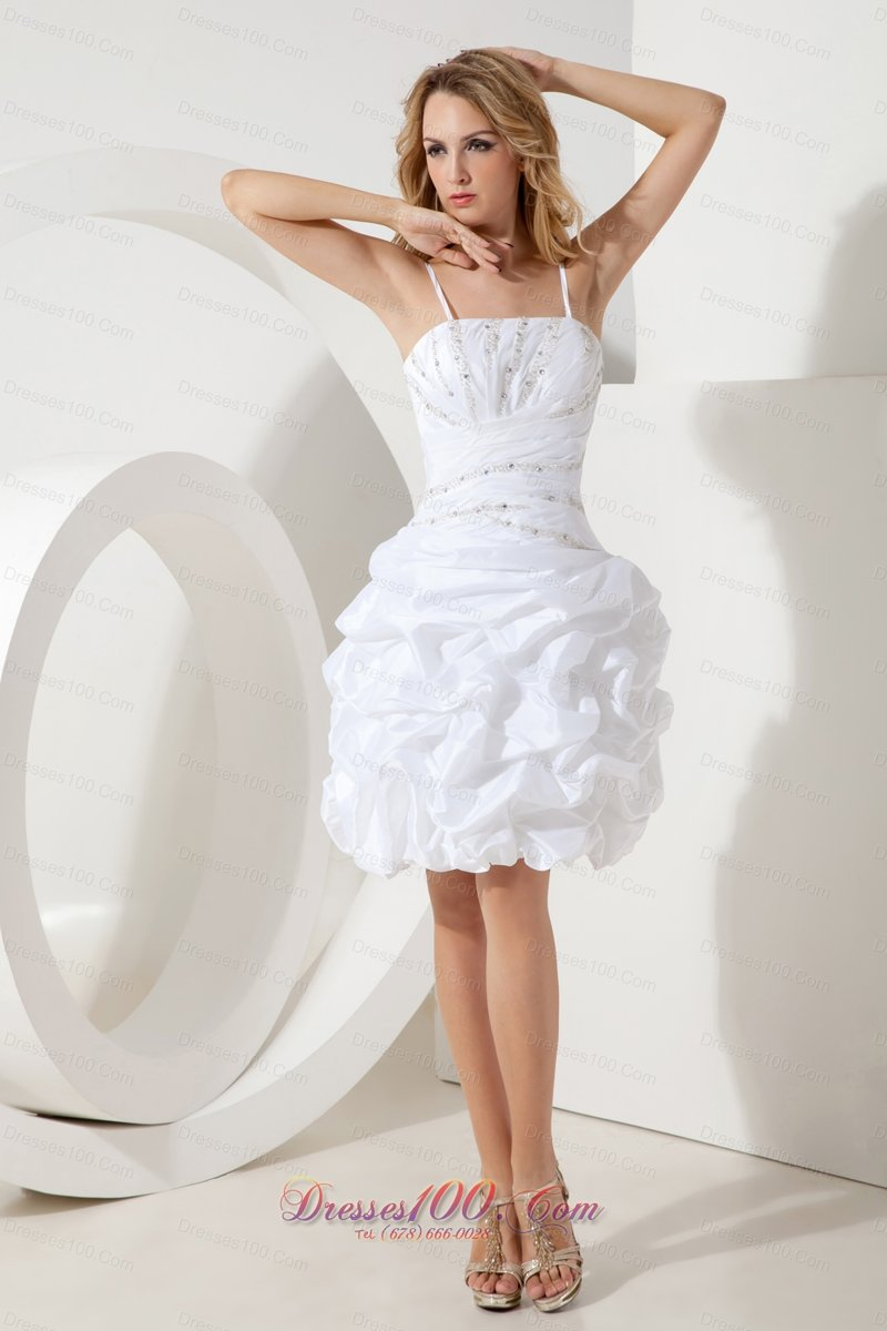 White Spaghetti Straps Cocktail Dress Puffy Skirt Beading |Short ...