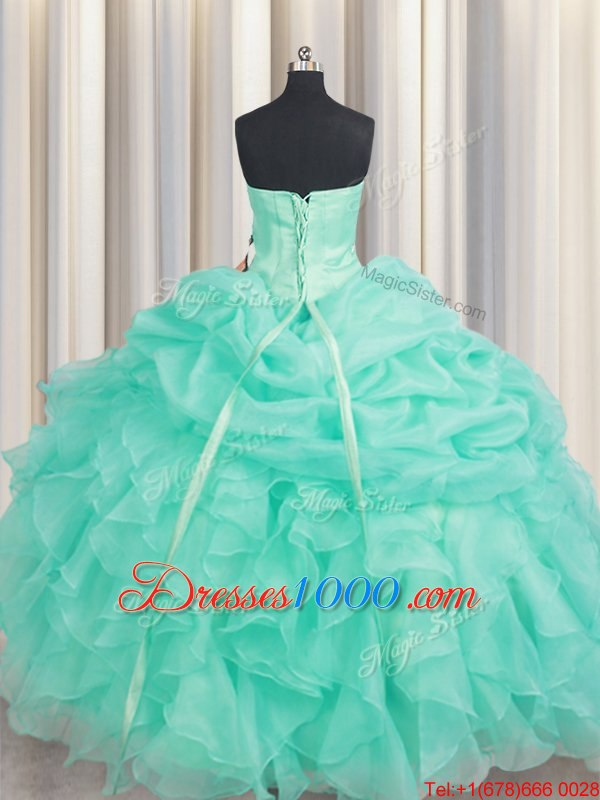 Graceful Pick Ups Floor Length Ball Gowns Sleeveless Apple Green Ball Gown Prom Dress Lace Up
