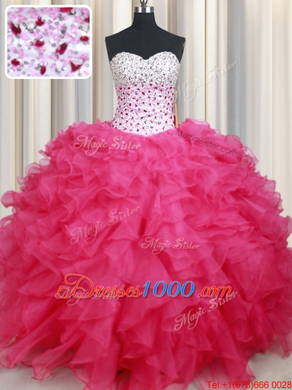 Fantastic Hot Pink Ball Gowns Organza Sweetheart Sleeveless Beading and Ruffles Floor Length Lace Up Sweet 16 Quinceanera Dress