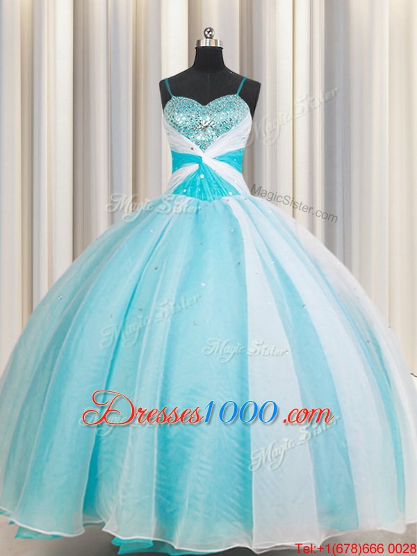 Latest White and Blue Ball Gowns Organza Spaghetti Straps Sleeveless Beading Floor Length Lace Up Quinceanera Gown