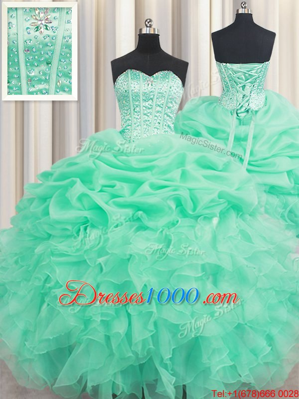 Apple Green Sweetheart Neckline Beading and Ruffles and Pick Ups Quinceanera Gowns Sleeveless Lace Up