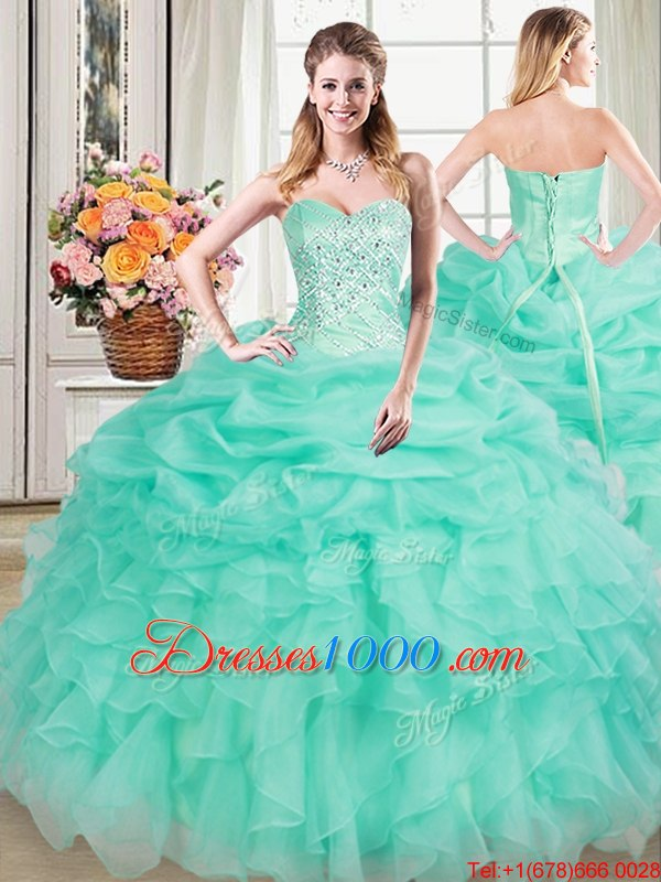 Apple Green Lace Up Sweetheart Beading and Ruffles and Pick Ups Quinceanera Gowns Organza Sleeveless