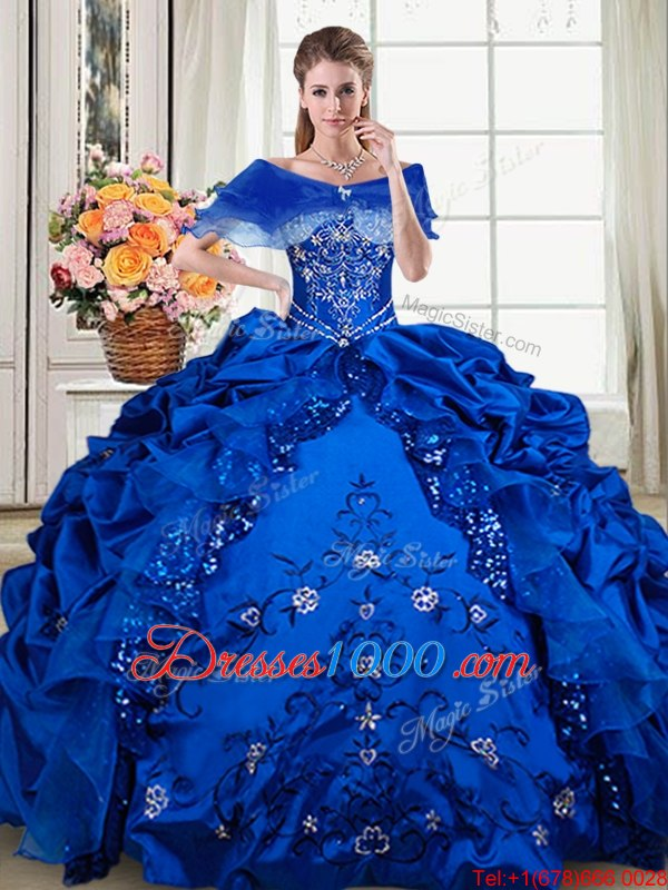 Royal Blue Sleeveless Beading and Embroidery and Pick Ups Floor Length Quinceanera Dresses